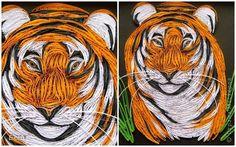Картина, панно Квиллинг: король джунглей Бумажные полосы, Клей. Фото 2