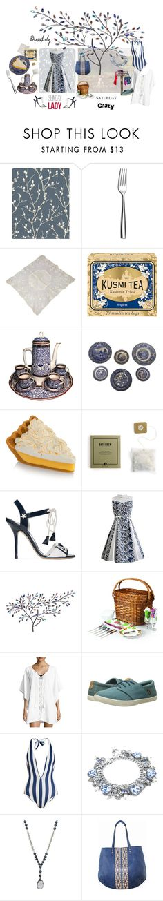 """Crazy Lady"" by cinpet ❤ liked on Polyvore featuring Couzon, Kusmi Tea, Royal Worcester, Page Thirty Three, Dolce&Gabbana, Harper Blvd, Picnic Time, Athena, Teva and Solid & Striped"