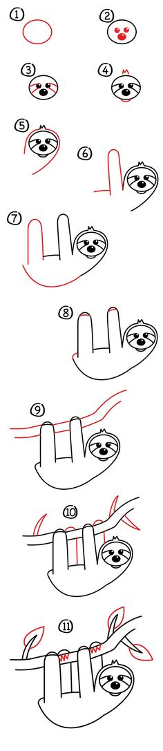 How To Draw A Cartoon Sloth - Art For Kids Hub - Austin and I are learning how to draw a cartoon slo Doodle Drawings, Cartoon Drawings, Animal Drawings, Easy Drawings, Art For Kids Hub, Directed Drawing, Cute Sloth, Drawing Lessons, Step By Step Drawing