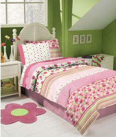 Pink, White & Lime Green Gingham Polka Dot Full Comforter Set Piece Bed In A Bag) queen kid toddler girl big bed bedding sheets Lime Green Bedrooms, Green Girls Rooms, Pink Bedroom For Girls, Teen Girl Bedrooms, Bedroom Green, Big Girl Rooms, Kids Rooms, Green Comforter, Full Comforter Sets