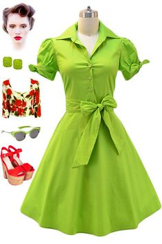 50s Style LIME Tie Sleeve Full Skirt Rockabilly PINUP Day Dress w/ SASH Belt #PrivateManufacturer #ShirtDress #Casual