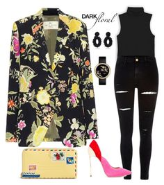 """Floral and Dark mood"" by matousadiya ❤ liked on Polyvore featuring River Island, Etro, Casadei, Vera Bradley and Bibi Marini"