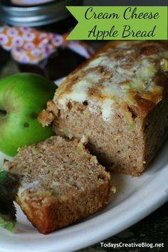 Cream Cheese apple bread recipe | Apple recipes are one of my favorites! With 2 apple trees I need them! This quick bread is great for snacks or breakfast! Find the recipe on TodaysCreativeLife.com