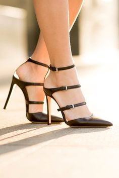 Strappy Triple Buckled Pumps #style #fashion #shoes #sexy #datenight #event #wedding
