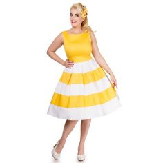 Anna Striped 50's Swing Dress in White/Yellow by Dolly and Dotty