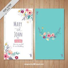 ターコイズブルーの背景に花の結婚式のカード 無料ベクター