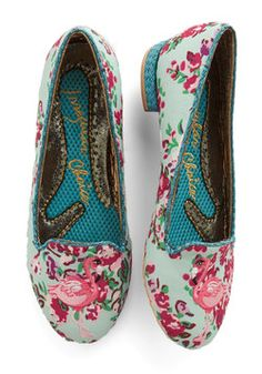 Standing Elation Flat. Gazing down at your mint Irregular Choice loafers, you revel in the delight evoked from the adorably embroidered flamingos that balance on their toe! #blue #modcloth