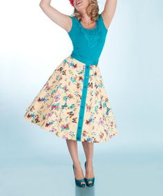 Loving this Yellow & Turquoise Butterfly A-Line Skirt - Women & Plus on #zulily! #zulilyfinds