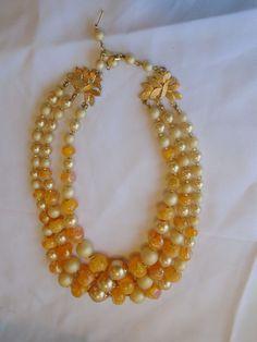 "Vintage Hong Kong Necklace Peach Cream Gold Beaded Multi Strand Retro 8.5"" #HongKong #VtgMultiStrandNecklacePeachCreamGoldRetro"