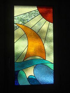 Vitraux modernes - Françoise Naud Custom Stained Glass, Faux Stained Glass, Stained Glass Lamps, Stained Glass Designs, Stained Glass Panels, Stained Glass Projects, Stained Glass Patterns, Mosaic Glass, Glass Boat