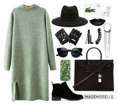 """Green-and-black"" by microl ❤ liked on Polyvore featuring Chicnova Fashion, Lucky Brand, Yves Saint Laurent, Casetify, Forever 21, Lacoste, Laura Mercier, French Connection, Jules Smith and women's clothing"