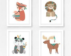 Boho Kinderzimmer Dekor, Tribal Kindergarten Kunst, Wald Kindergarten Dekor, Tribal Waldtiere, Tribal Tiere Kinderzimmer Wand Kunst, Baby-Dusche-Geschenk