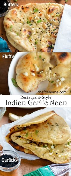 Indian Garlic Naan Bread for Easy Indian Dinner at Home | https://chefdehome.com