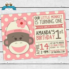 Sock Monkey Birthday Party Invitation - Pink Invite Card - Super cute Girls Sock Monkey Personalized Printable pdf- $11.95