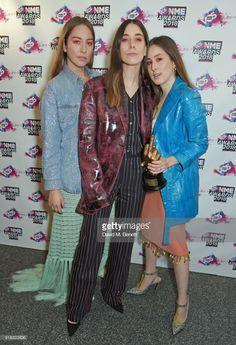 Este Haim, Danielle Haim and Alana Haim of Haim in the winners room during the VO5 NME Awards held at Brixton Academy on February 14, 2018 in London, England.