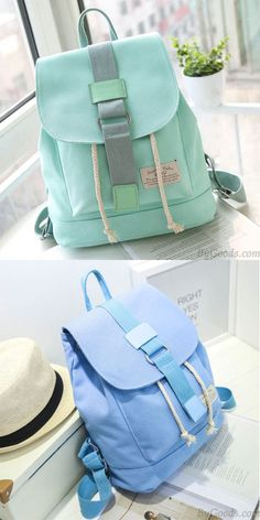 which color do you like? Lovely Mint Green Canvas Schoolbag Sweet Student Buckle Solid Backpack #backpack #lovely #green #canvas #school #college #bag #rucksack #girl #students