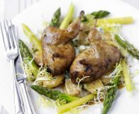 Roast & marinated quail with warm spring vegetable salad