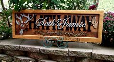 Deer & Geese  Design / Wedding date in frame by CarvedArtStudio511