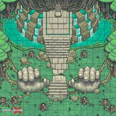 Swamp Battlemap - Fantasy map - D&D, DnD, Dungeons and Dragons, Pathfinder. Giant statues of hands. Dungeon Room, Dungeon Maps, Dungeons And Dragons Homebrew, D&d Dungeons And Dragons, Fantasy Map, Fantasy World, Dnd World Map, Isometric Map, Rpg Map
