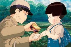 Incredible animated films from across the Pacific. Art Studio Ghibli, Studio Ghibli Movies, Hayao Miyazaki, Totoro, Hotaru No Haka, Personajes Studio Ghibli, Grave Of The Fireflies, Cartoon Girl Drawing, Anime Scenery