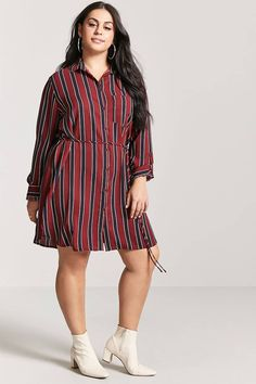 Product Name:Plus Size Stripe Shirt Dress, Category:plus_size-main, Price:22.9 #PlusSize#outfits