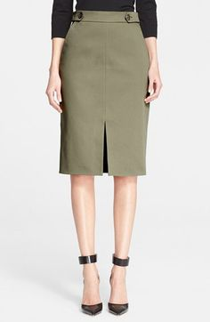 Nordstrom Signature and Caroline Issa Defined Twill Pencil Skirt available at #Nordstrom