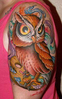 Owl Tattoo By Ken Hoffa, Ascension Custom Dermagraphics Time Tattoos, Body Art Tattoos, Sleeve Tattoos, Colorful Owl Tattoo, Brain Tattoo, Owl Tattoo Design, Detailed Tattoo, Architecture Tattoo, Wedding Tattoos