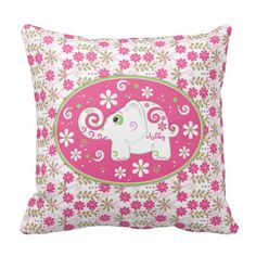 Shop Personalized Pink Green Elephant Daisy Floral Throw Pillow created by wasootch. Personalize it with photos & text or purchase as is! Small Pillows, Pink Pillows, Floral Throw Pillows, Decorative Pillows, Elephant Pillow, Elephant Gifts, Decorating Your Home, Decorating Tips, Cool Patterns