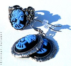 Lady Decay Cameo Earrings and Ring SET - Nightshade Periwinkle Blue on Antiqued Silver by Eternal Autumn Jewelry, $28.00 - - - Neo Victorian Steampunk Goth Lolita HALLOWEEN