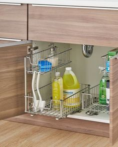 kitchen storage ideas 10 Under Sink Organizers for Bathrooms and Kitchens - Easy Under Sink Storage Clever Kitchen Storage, Under Sink Storage, Kitchen Organisation, Kitchen Cabinet Storage, Modern Kitchen Cabinets, Modern Kitchen Design, Bathroom Storage, Kitchen Furniture, Organization Ideas