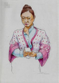 カーディガンのお姉さん It is a sketch of a woman wearing a cardigan red and white.  I drew on the train going to work.