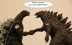 Classic Godzilla greets the good reboot version. - Don Troutman Classic Godzilla greets the good reb Godzilla Figures, Godzilla Comics, Godzilla Franchise, Godzilla Toys, King Kong Vs Godzilla, Giant Monster Movies, Strange Beasts, Geek Culture, Pop Culture