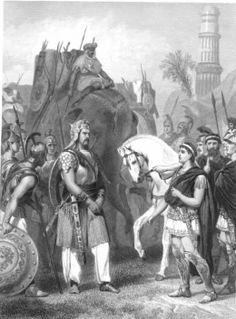 326 BC King Porus surrenders to Alexander the Great at the Battle of Hydaspes in an engraving entitled 'Surrender of Porus to the Emperor Alexander'. Alexander Of Macedon, Emperor Of India, Warrior King, History Of India, Great King, Alexander The Great, King Of Kings, Military History, Indian