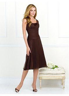 Lovely Crepe Chiffon A-line Tea-length Beautiful Bridesmaid Dress In Fashion Design
