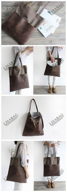 Handmade Waxed Canvas and Leather Tote Bag Women's Handbag School Bag 16006--LISABAG