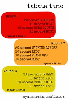 Tabata workout from mymissionimpossible.com