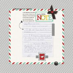 What a great page by Nicole LeBlanc. I love how she scrapped a note from her daughter!