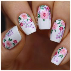 60 Spring Floral Nail Art Designs and Ideas Colors Flower Nail Designs, White Nail Designs, Nail Designs Spring, Cool Nail Designs, Nail Designs Floral, Floral Nail Art, White Nail Art, New Nail Art, White Nails