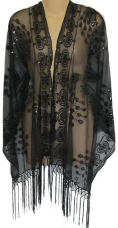 Sheer Peacock & Heart Sequin Fringed Evening Wrap Shawl for Prom Wedding Formal (Black) Great for casual or formal occasions Sequins add a little bling Monitors Vary; Color may appear different in person Fat Girl Outfits, Casual Outfits, 40s Fashion, Hijab Fashion, Fashion Ideas, Evening Shawls, Plus 8, Formal Wedding, Black Sequins