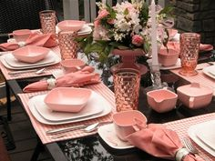 "Yes, you read that right! I am so excited to show you this table set with vintage Brookpark ""Pink Hyacinth"" melmac dinnerware from Table Place Settings, Beautiful Table Settings, Pink Parties, Dinning Table, Table Arrangements, Everything Pink, Deco Table, Decoration Table, Vintage Pink"