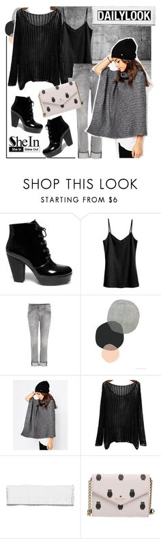 """Shein Sweater"" by parkersam76 ❤ liked on Polyvore featuring Steve Madden, H&M, 7 For All Mankind, ESPRIT, Kate Spade and shein"