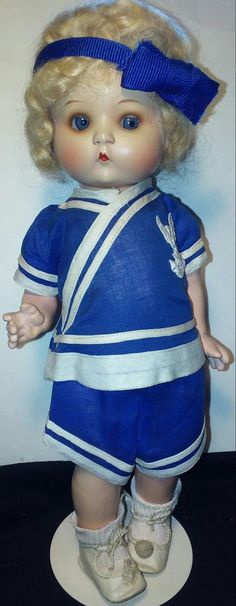"""VINTAGE 1925 """"JUST ME"""" Armand Marseille Vogue 10"""" Composition Painted Doll - $400.00. Up for sale- A Vintage/antique """"Just Me"""" hard to find 10"""" composition doll. These were made in Germany by Armand Marseille and this is how Ginny got her start. Mrs. Jennie Graves, Ginny's founder began by making doll clothes and would later purchase these dolls to dress them in her creations. This Just Me doll has the bisque socket type head and composition body. She s..."""