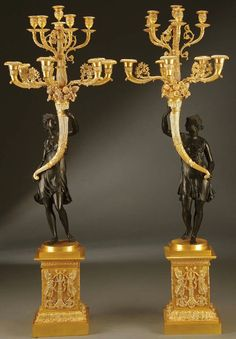 Pair of Monumental Gilt & Patinated Bronze Figural Ten-Light Candelabra.
