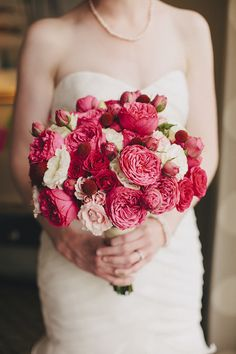 Gorgeous pink, red and white bridal bouquet, photo by La Dolce Vita | via junebugweddings.com