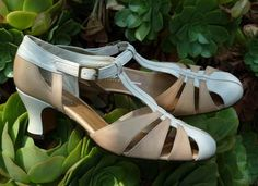 Remix Vintage Shoes, Balboa T-Strap Heel in Taupe & Ivory Leather Combo