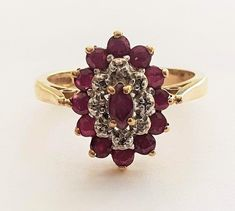 Vintage Ladies Edwardian Style Ruby and Diamond Cluster Engagement Ring in 9 ct Yellow Gold Band FREE POSTAGE Included by GloryBeVintageWares on Etsy