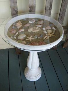 Table made from a bird bath!