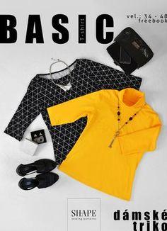 Návod na ušití dámské triko ROLÁK vel. 34 - 48 (střih zdarma), SHAPE-patterns.cz Shape Patterns, Sewing Patterns, Nike Jacket, Shapes, Athletic, Jackets, Fashion, Technology, Down Jackets