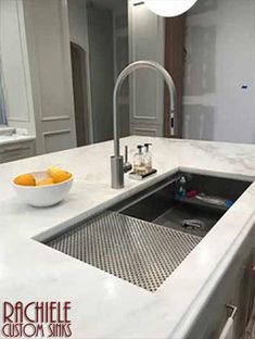 Work one-on-one with former kitchen designer, Dino Rachiele, to create your uniquely crafted custom workstation sink. Available in all sizes, from copper, stainless, brass, and bronze. Made in the USA by Rachiele Custom Sinks. See more examples at www.rachiele.com. #customhome #luxuryfaucet #newkitchen Best Kitchen Sinks, Steel Kitchen Sink, New Kitchen, Cool Kitchens, Kitchen Ideas, Kitchen Faucets, Smart Kitchen, White Kitchens, Kitchen Living