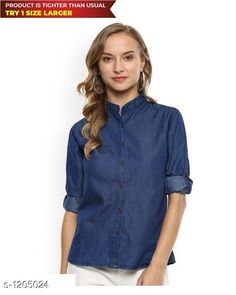 Shirts  Ladies Voguish Denim Shirt  *Fabric* Denim  *Sleeves* Sleeves Are Included    *Size* S - 36 in, M - 38 in, L - 40 in, XL - 42 in  *Length* Up To 26 in  *Type* Stitched  *Description* It Has 1 Piece Of Women's Shirt  *Pattern * Solid  *Sizes Available* S, M, L, XL *   Catalog Rating: ★4 (642)  Catalog Name: Free Mask  Trendyfrog Ladies Voguish Denim Shirts Vol 13 CatalogID_151286 C79-SC1022 Code: 203-1205024-